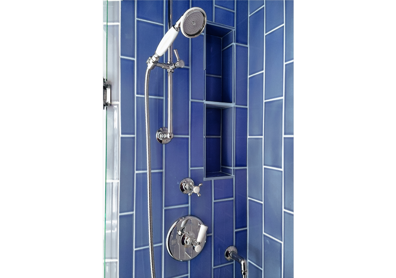 Blue vertical tiled shower