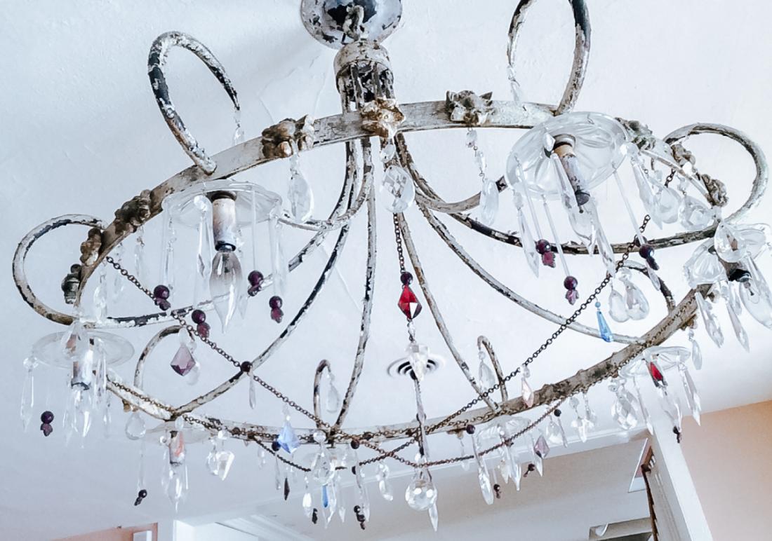 Metal antique glass drop bead chandelier