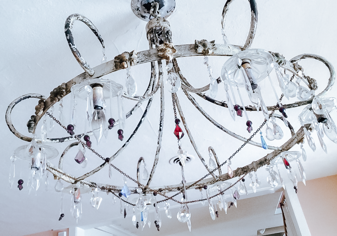 Metal antique glass drop bead chandelier