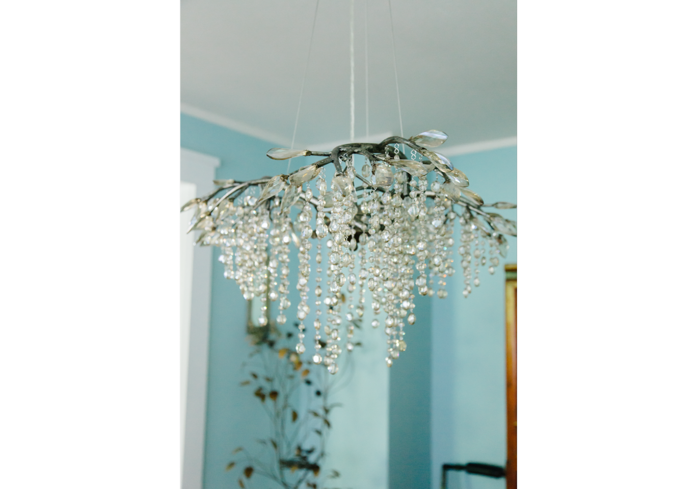Glass beaded drop chandelier