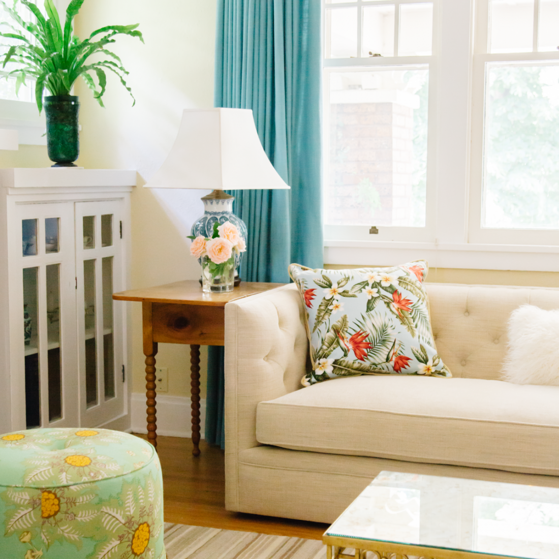 Light-filled and floral living room corner