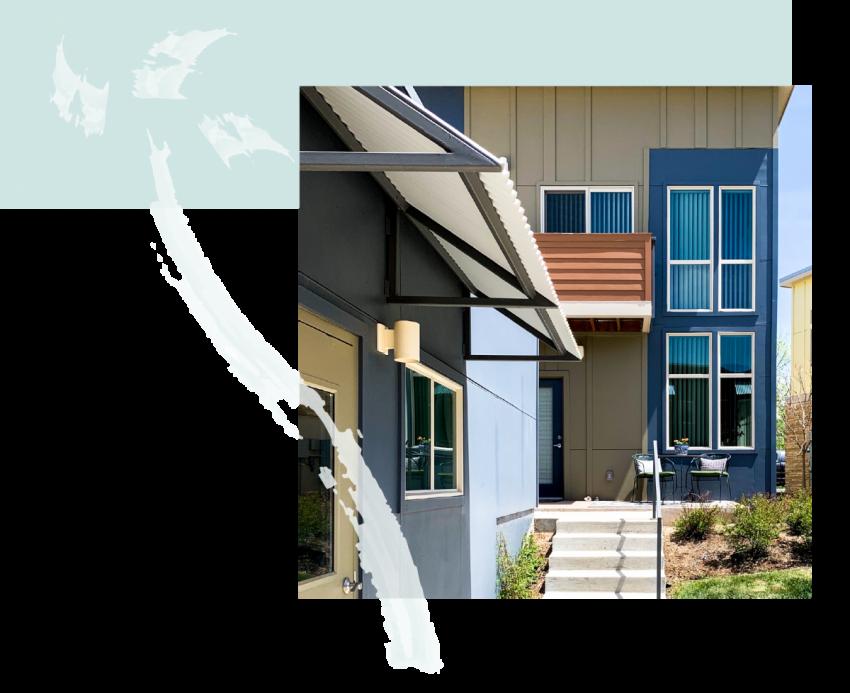 Apartment Complex exterior featuring blue accents
