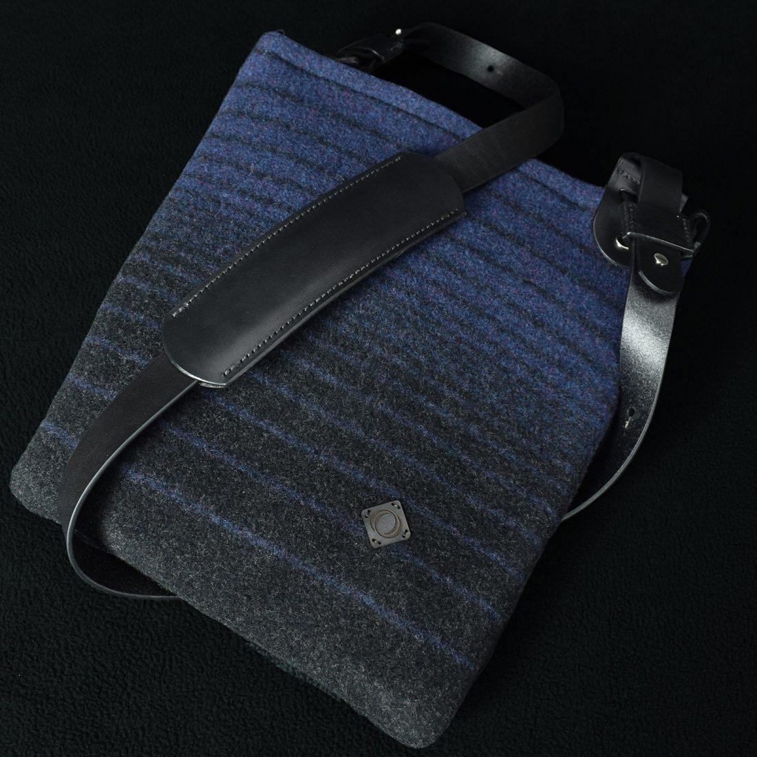 coarse cloth wool cross body bag blue and black stripes