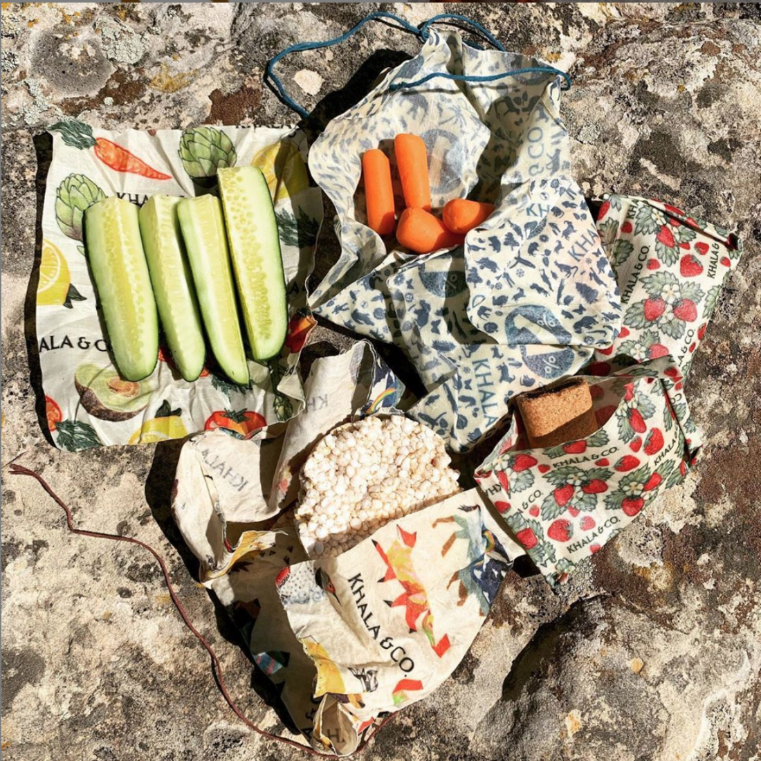 khala cloth beeswax wraps covering food items