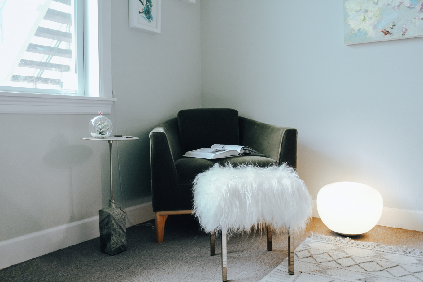 Adue Interiors Office Furniture Green Chair and Fuzzy Stool