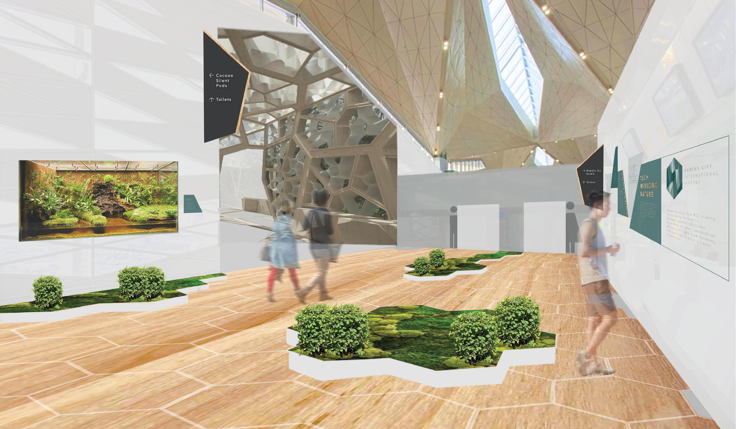 architecture rendering interior of airport museum
