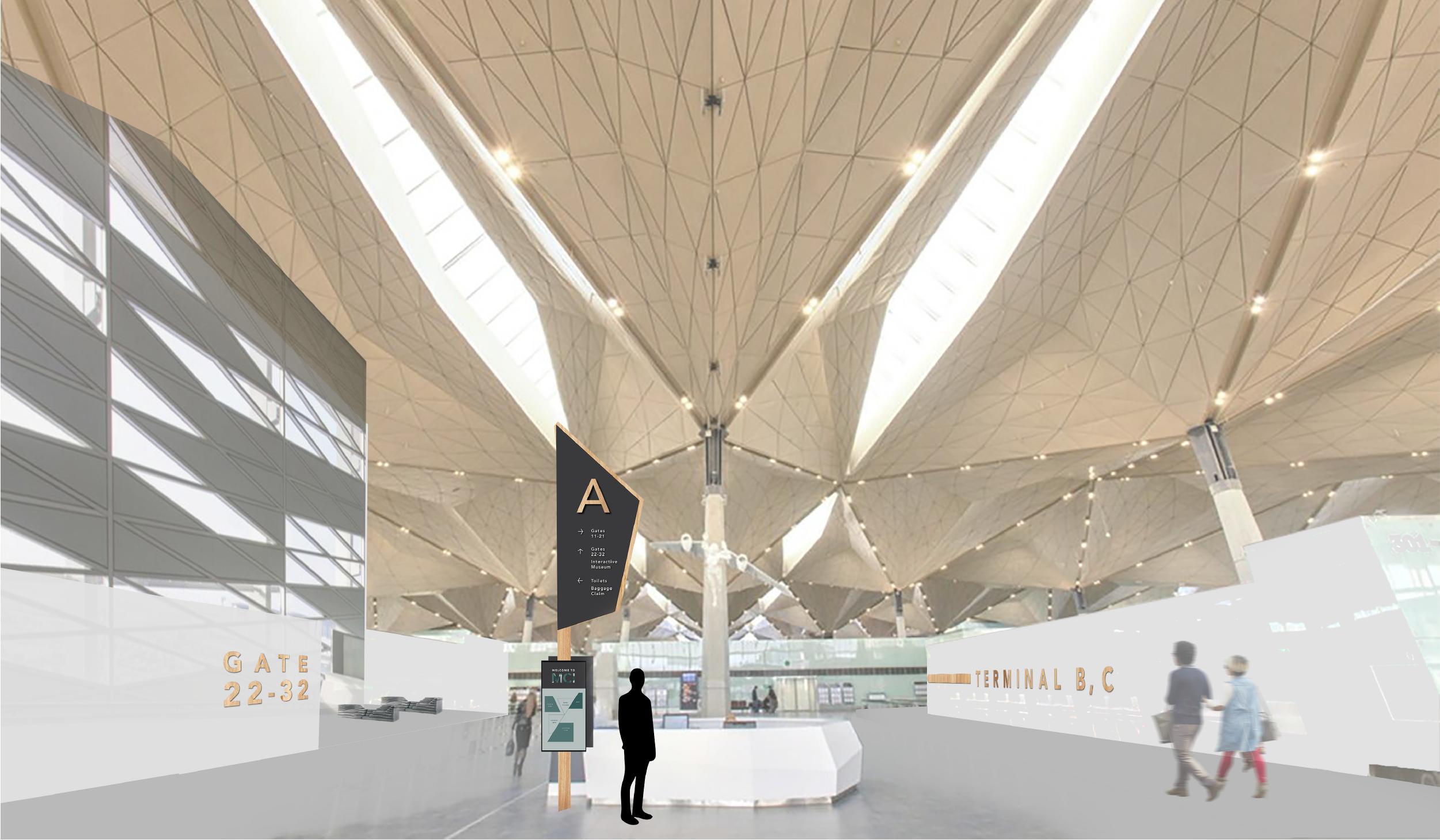 architecture rendering interior of airport