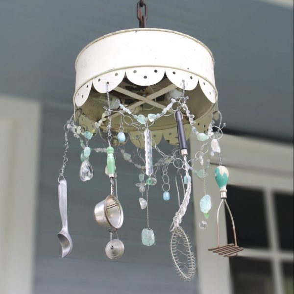 Scalloped Shade Light adorned with crystals and vintage kitchen tools