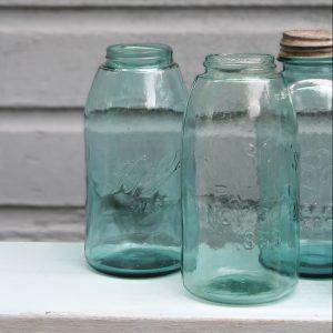 Balls Glass Jars with Aqua Tint